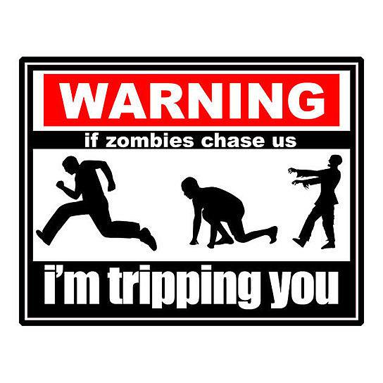 WARNING - If zombies chase us